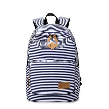 School Bags For Teenagers Girls Canvas Backpacks Cute Stripped Bookbag For Middle High School Girl Backpack