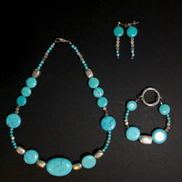 Handmade Turquoise and Silver Beaded Necklace, Bracelet and Earring set from NotionsN'Potions