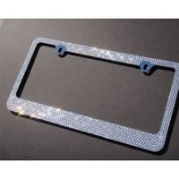 Bling 3 Rows WHITE Color Crystal Embedded Metal Chrome License Plate Frame with Free Caps