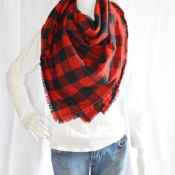 Buffalo Plaid Blanket scarf / Soft Oversized Scarf Blanket / Flannel Shawl / Fall, Winter Wrap / Zara Insired / 2 styles available