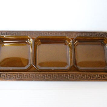 RELISH TRAY, Thermo-Serv Westwood Faux Wood and Acrylic Serving Dish,Vintage serving piece,brown acrylic dish,retro housewares,gift for home