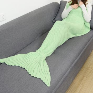 Unique Light Green Knitted Mermaid Blanket