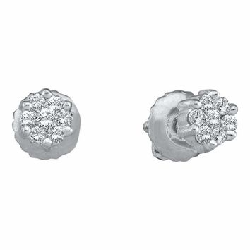 14k White Gold Round Diamond Flower Cluster Women's Screwback Stud Earrings 1-6 Cttw - FREE Shipping (USA/CAN)