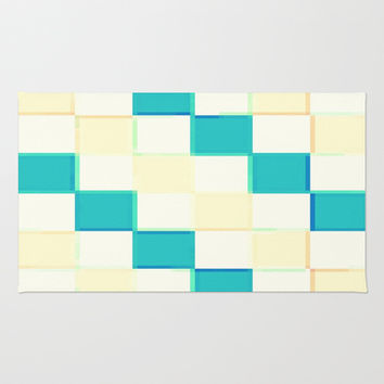 Teal Cream & White 3D Squares Area & Throw Rug by 2sweet4words Designs