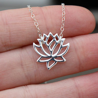 Lotus Necklace - Yoga Jewelry . Sterling Silver . Lotus Flower . Hand-Stamped Gift Box