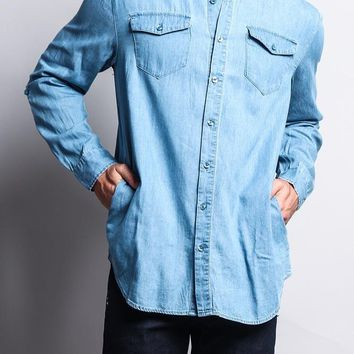 Extended Length Denim Button Up Shirt SH501 - E10I