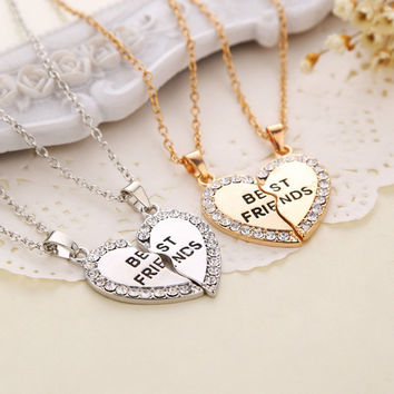 New Best Friend Gold and Silver Rhinestone Split 2 Parts Heart Friendship Pendants Necklace Girlfriends Women Accessories