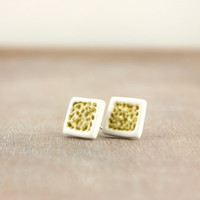 White and gold square stud earrings, minimalistic contemporary dainty jewellery