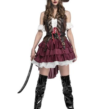 High Quality Deluxe Sexy Pirate Costume Adult Women Halloween Carnival Party Cosplay Caribbean Pirates Fancy Dress