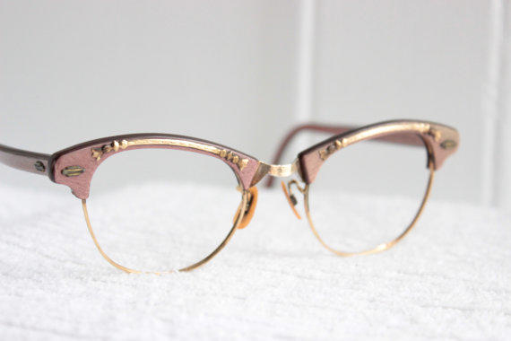 60s cat eye glasses 1960s pink pearl eyeglasses browline wire rim combination gold metal applique 44