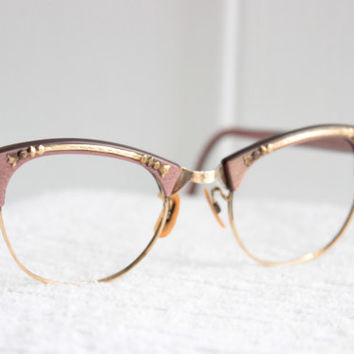 f369ea2b88e 60s Cat Eye Glasses 1960 s Pink Pearl Eyeglasses Browline Wire Rim  Combination Gold Metal Applique 44