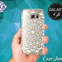 White Mandala Line Design Boho Hippie Hipster Cute Case for Clear Rubber Samsung Galaxy S6 and Samsung Galaxy S6 Edge Clear Cover