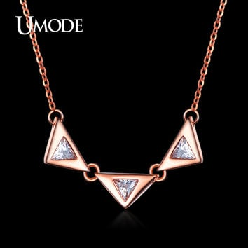 UMODE Simple Design Three Triangle Cubic Zirconia Necklaces Rose Gold Color Women Chain Necklace Bijoux Jewelry UN0118