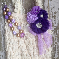 Ivory lace petti romper, Purple and Ivory romper, baby romper, infant romper, Ivory and purple baby set, purple necklace, purple flower