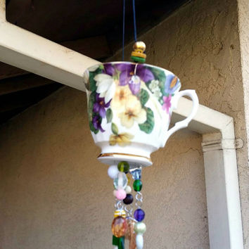 Vintage Teacup Bird Feeder/Hanging Beaded Flower Teacup Garden Art/Upcycle Repurposed Tealight Candle Holder/Herb and Succulent Planter