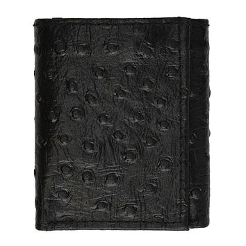 Ostrich Leather Wallet - Black