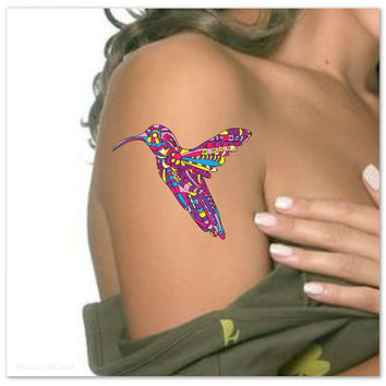 Temporary Tattoo Doodle Pattern Hummingbird Waterproof Ultra Thin Realistic Fake Tattoos