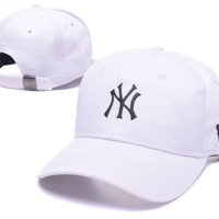 White NY Embroidered Adjustable Baseball Cap Hats