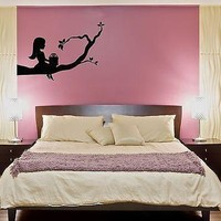 Wall Stickers Vinyl Decal Little Girl Sitting On A Branch Tree Cool Decor Unique Gift (z1594)