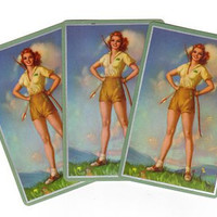 Vintage Pin Up Girl Playing Cards (3), Girl Bow and Arrow, Smash Book Supply, Archery Ephemera 1950s Single Swap Cards, Junk Journal Scraps