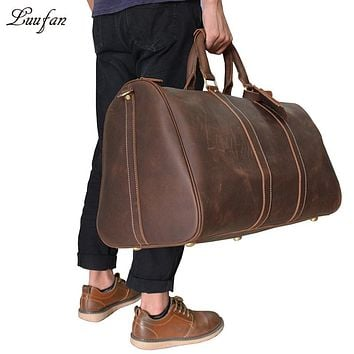 Unisex Vintage crazy horse leather weekend bag Men Thickness Real leather tote Bag Genuine leather travel duffel messenger
