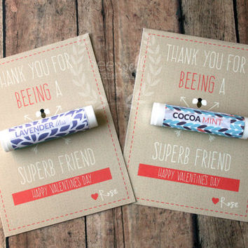 Customizable Homemade Valentine Card with Organic Beeswax Lip Balm {Thank You For Beeing A Superb Friend}