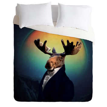 Natt Orange Moon Duvet Cover