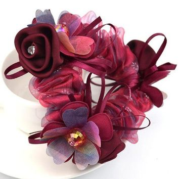 DKLW8 1Piece Hair Accessories for girl & women high elastic floral Hair Rope Super Elastic Headbands Ponytail Scrunchie high quality