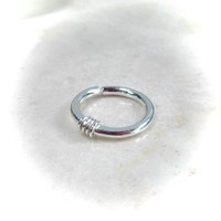 Solid Silver with Silver Nose Ring Hammered & Wrapped