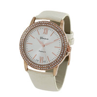 2 Row Crystal Roman Numeral Watch - White/Rose Gold