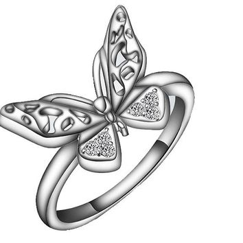 Classic Hollow Butterfly Engagement Ring For Women