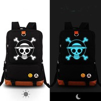 High Quality Anime One Piece Luffy Chopper Skull Luminous Printing Canvas Travel Bag school bags for teenagers Mochila Feminina