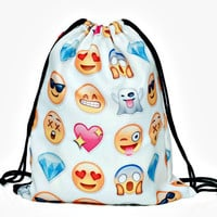 White Emoji Print Backpack
