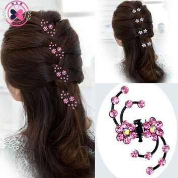 PEAPGC3 Haimeikang 2017 New Fashion 6Pcs Girls Crystal Snowflake Hair Clips Hairpins Headwear Rhinestone Hair Claws Hair Accessories