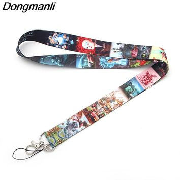 P1919 Dongmanli Alice in Wonderland kids keychain lanyard Badge ID Lanyards/ Mobile Phone Rope/ Key Lanyard Neck Straps jewelry