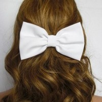 Hair Bow Clip WHITE Hair Accessories Women Teens Girls Cheer School Gift for Her