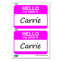 Carrie Hello My Name Is - Sheet of 2 Stickers
