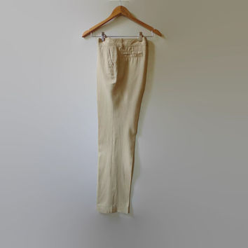Beige Linen Pants for Women - 90s Vintage Trousers - Womens Vintage Clothing, Summer Clothes, Long Pants, 2 Pockets Pants, Size US 10 Women