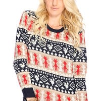 Navy Tan Cable Knit Pattern Winter Sweater