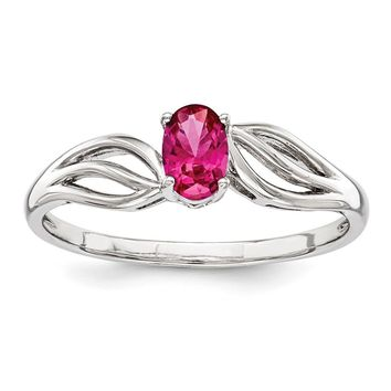Sterling Silver Simulated Ruby July Birthstone Ring