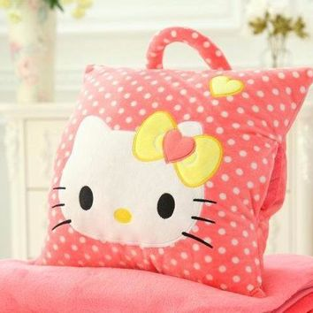 Cute Plush Pillow / Blanket / Hand warmer - Free Shipping - Hello Kitty (dots)