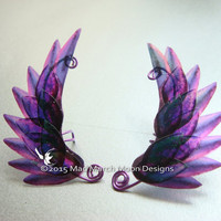 Dragon Scale Wing Ear Cuffs Purple, clip on ear cuff, non pierced ear cuff.