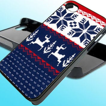 Wonderland Knitted Christmas for iPhone 4/4s Case - iPhone 5 Case - Samsung S3 - Samsung S4 - Black - White (Option Please)