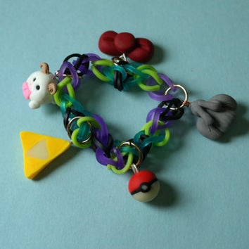 Rainbow Loom Bracelet with Fandom Charms Price Depends on Charm Count