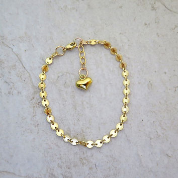 Gold Chain Bracelet, Heart Charm, Valentine's Day Gift Idea For Her, Love, Friendship, Bridal Wedding Jewelry, Bridesmaid, Anniversary Gift