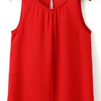 Solid Color Keyhole Chiffon Tank Top