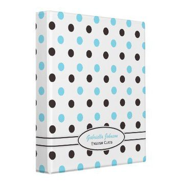 Personalized: Blue & Brown Polka Dot Binder 2 from Zazzle.com