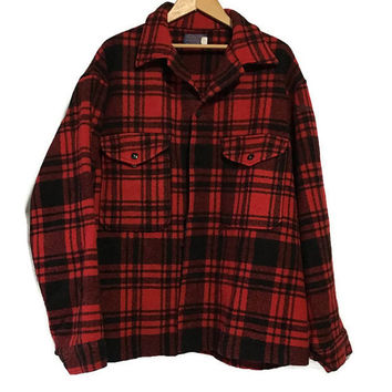 Vintage Pendleton Wool Coat Jacket Lumberjack Red Black Plaid  XL XXL
