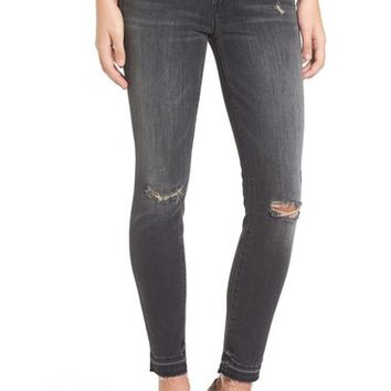 MOTHER 'The Insider' High Rise Frayed Crop Jeans (Faded Black) | Nordstrom