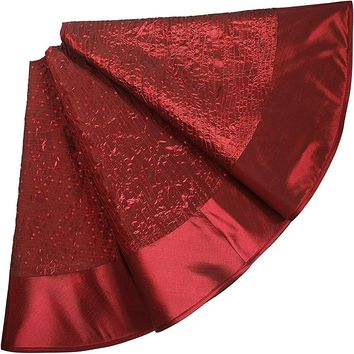 "SORRENTO Glitter Sequin Centre ,Faux Silk Border,Extra Large Dia 50"" Christmas Tree Skirt-Burgundy"